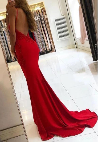Sexy Backless Lace Beaded Mermaid Long Evening Prom Dresses, Evening Party Prom Dresses, 12183