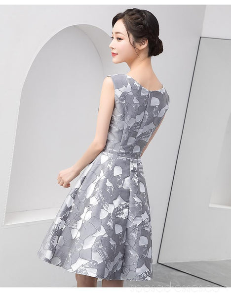 Grey Scoop Unique Cheap Homecoming Dresses Online, Cheap Short Prom Dresses, CM785