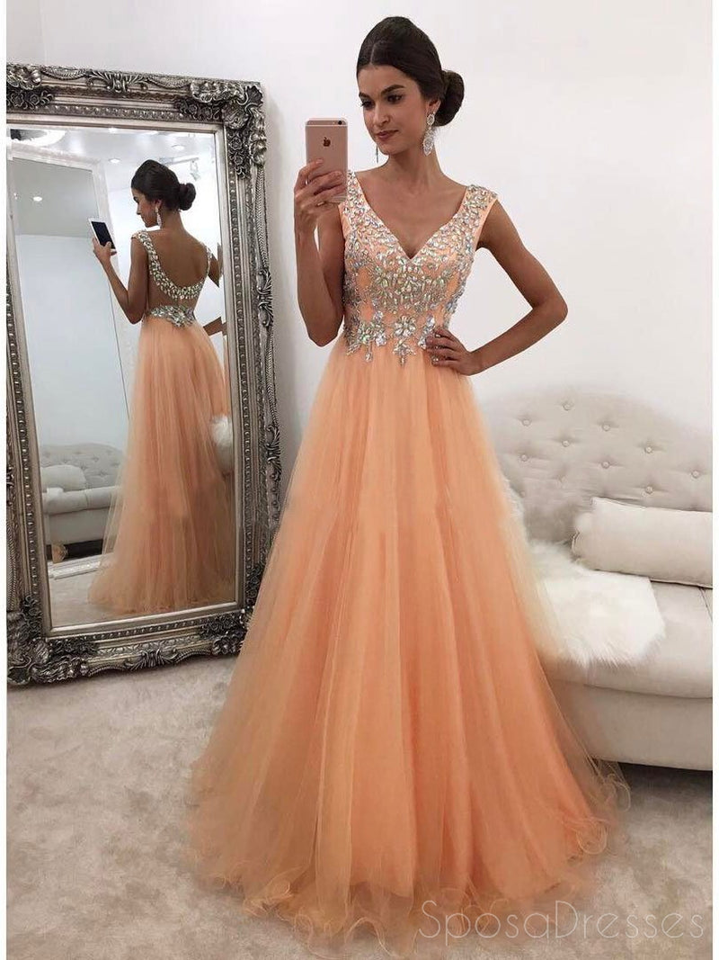 Peach V Neckline Rhinestone Low Back Tulle A line Long Custom Evening Prom Dresses, 17398
