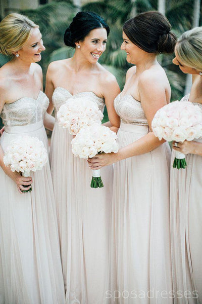 Sweetheart Ivory Chiffon Cheap Long Bridesmaid Dresses Online, WG255