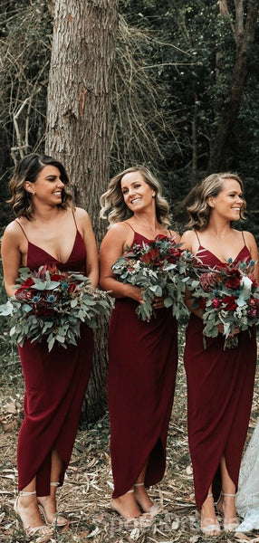 Dark Red Spaghetti Straps Cheap Ankle Length Cheap Bridesmaid Dresses Online, WG677