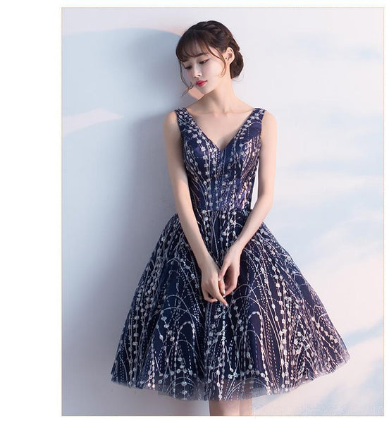 V-Neck Navy Lace Cheap Homecoming Dresses Online, Cheap Short Prom Dresses, CM786