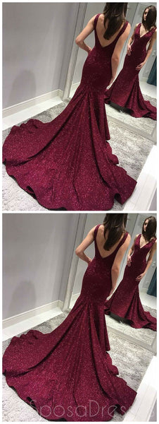 Sexy Backless Maroon Sequin Mermaid Side Slit Long Evening Prom Dresses, Sparkly Sweet 16 Dresses, 18341