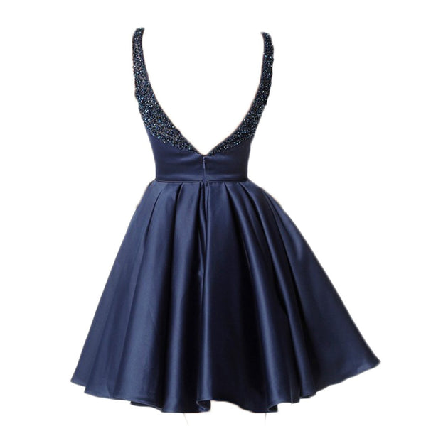Sexy Backless Beaded Navy Short Cheap Homecoming Dresses 2018, CM516