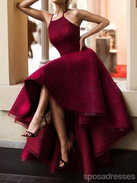 Halter Cute Dark Red High Low Lace Homecoming Dresses 2018, CM511