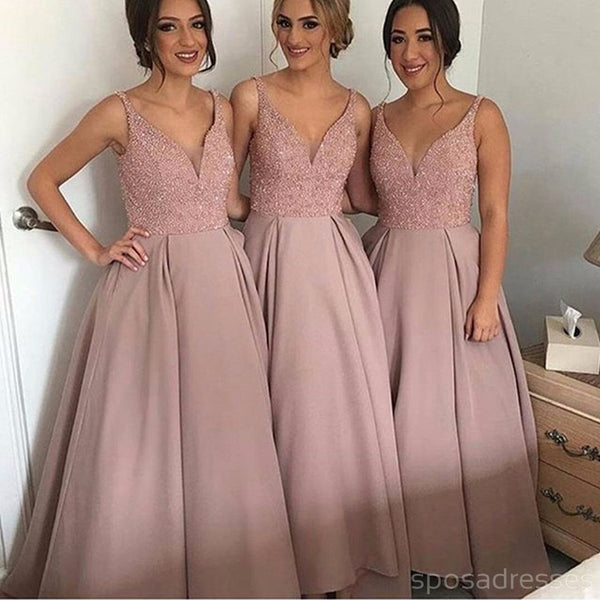 Gorgeous Pretty New Arrival Off Shoulder V-Neck Long Bridesmaid Dresses, WG69