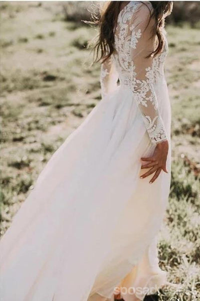 Long Sleeves Lace A-line Wedding Dresses Online, Cheap Unique Bridal Dresses, WD591