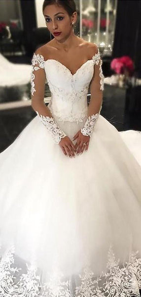 Long Sleeves Lace A line Cheap Wedding Dresses Online, WD416