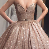 Gold Sequin Ball Gown Sparkly Long Evening Prom Dresses, Evening Party Prom Dresses, 18619