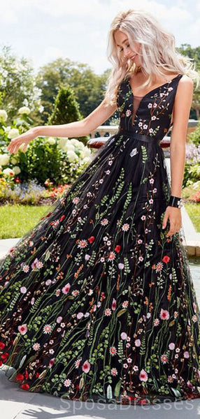 Black Embroidery V Neck Long Sexy Evening Prom Dresses, Cheap Custom Sweet 16 Dresses, 18500