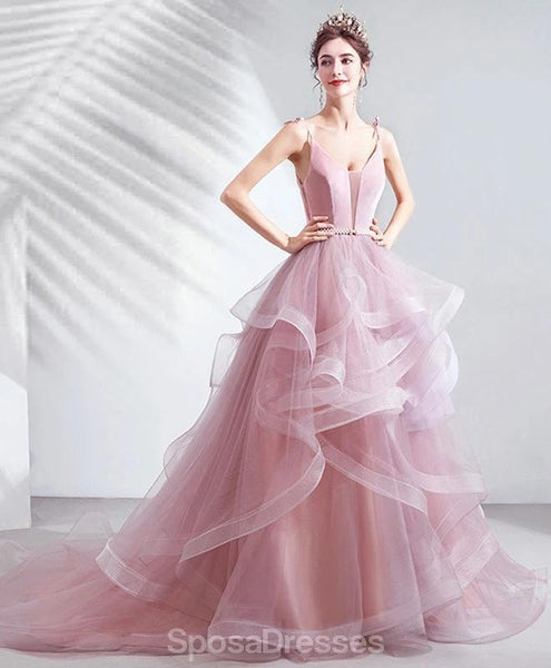 Pink V-Neck A-line Ruffle Evening Prom Dresses, Evening Party Prom Dresses, 12210