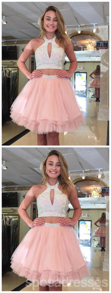 Cute Halter Two Piece Beaded Short Pink Homecoming Dresses 2018, CM488