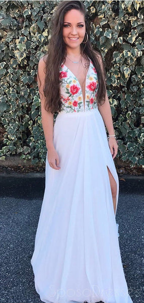 V Neck White Embroidery Side Slit Long Evening Prom Dresses, Cheap Sweet 16 Dresses, 18383