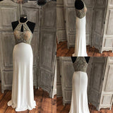 Halter See Through Delicately Beaded White Long Evening Prom Dresses, Popular Cheap Long Custom Party Prom Dresses, 17320