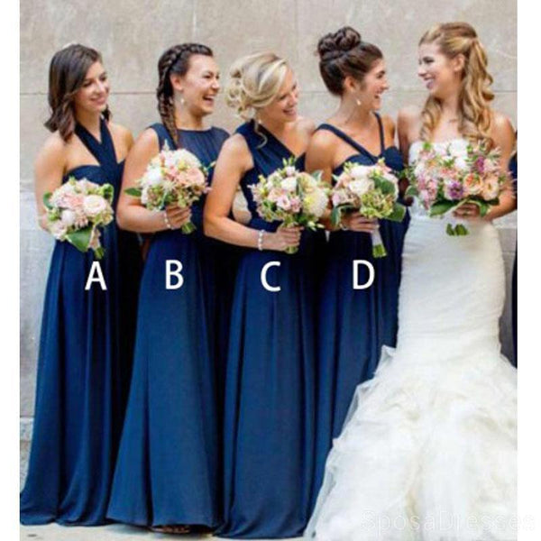Mismatched Navy Blue Cheap Long Cheap Bridesmaid Dresses Online, WG626