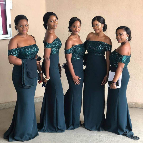 Off Shoulder Teal Mermaid Sequin Bodice Cheap Long Cheap Bridesmaid Dresses Online, WG641