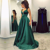 Sexy Deep V Neckline A line Evening Prom Dresses, Popular Emerged Green  Party Prom Dresses, Custom Long Prom Dresses, Cheap Formal Prom Dresses, 17199