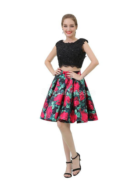 Black Two Pieces Lace Beaded Cheap Homecoming Dresses Online, Cheap Short Prom Dresses, CM807