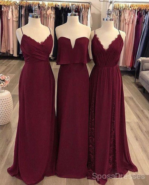Burgundy Mismatched Chiffon Long Wedding Party Bridesmaid Dresses, WG130