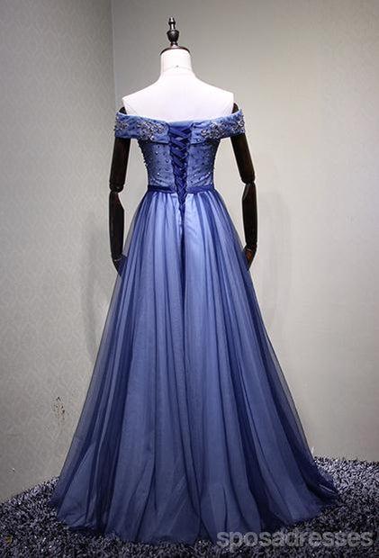Off Shoulder Blue Tulle Beaded A-line Long Evening Prom Dresses, 17621