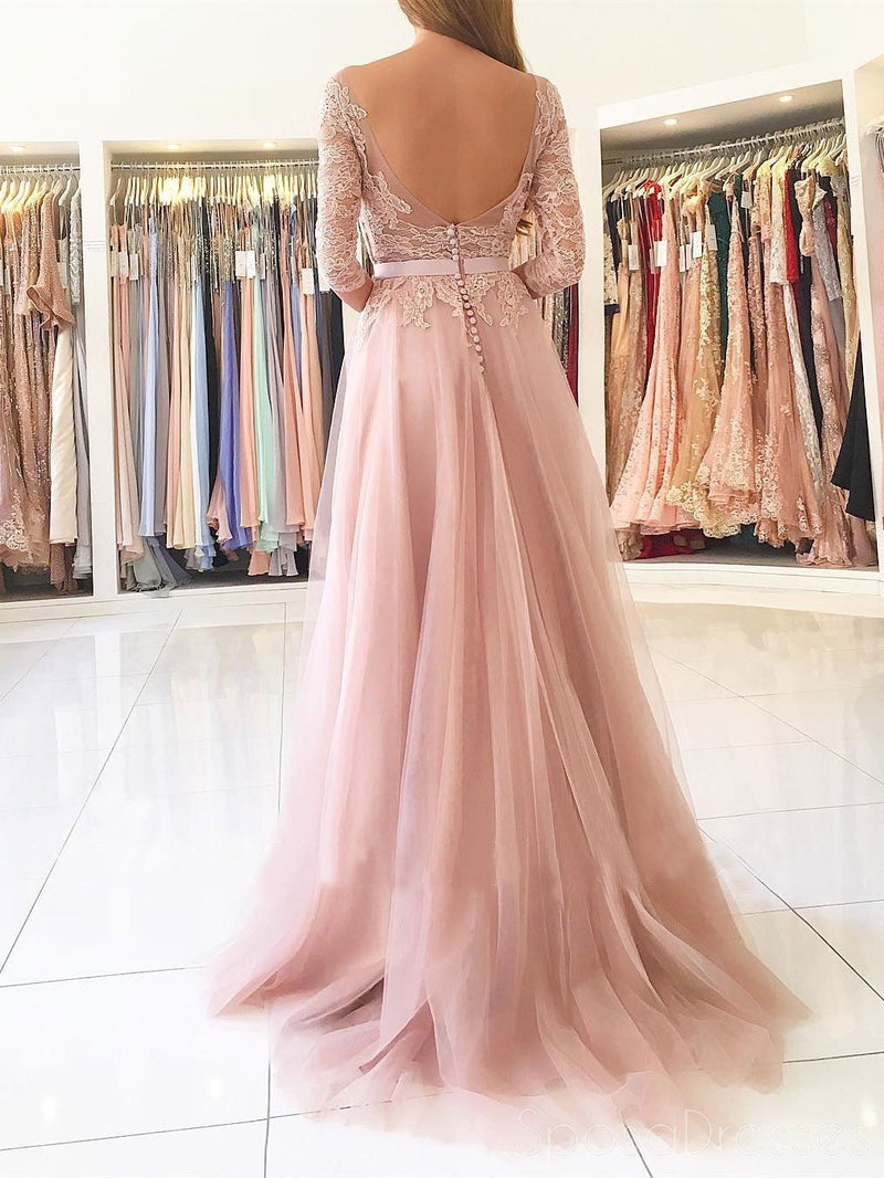 Sexy Split Blush Pink Long Sleeve Lace Evening Prom Dresses, Sexy ...