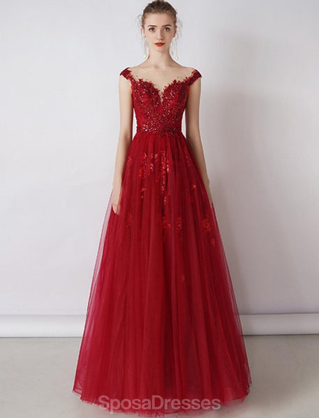 Cap Sleeves Red Beaded Sequin A-line Long Evening Prom Dresses, Evening Party Prom Dresses, 12326
