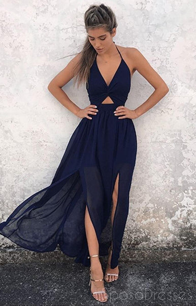 Sexy Cheap Backless Chiffon Halter Long Navy Blue Evening Prom Dresses, 17391