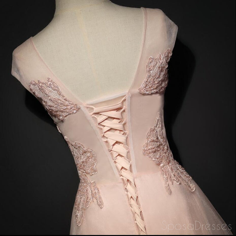 Blush Pink Cap Sleeve V Neckline Lace Long Evening Prom Dresses, Popular 2018 Party Prom Dresses, Custom Long Prom Dresses, Cheap Formal Prom Dresses, 17216