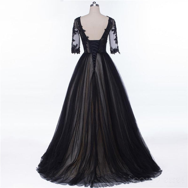 Sexy Backless Long Sleeve Black See Through Lace Beaded Long Evening Prom Dresses, Popular Cheap Long 2018 Party Prom Dresses, 17229