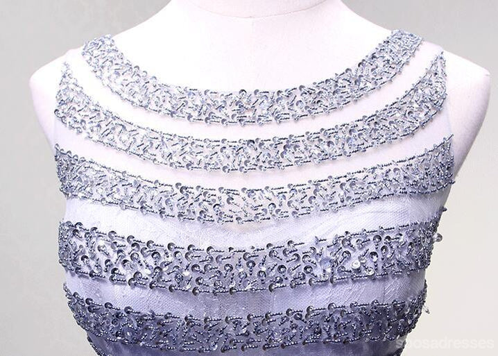 Sexy Open Back Lilac Lace Beaded Evening Prom Dresses, Popular Lace Party Prom Dresses, Custom Long Prom Dresses, Cheap Formal Prom Dresses, 17180