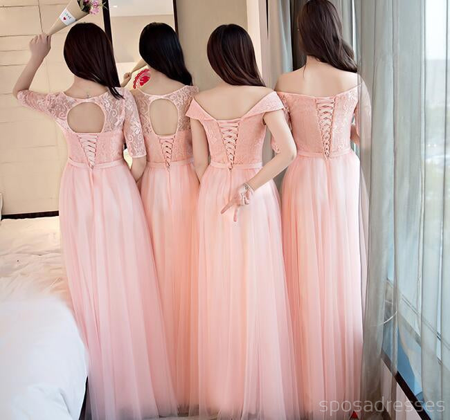 Mismatched Peach Lace Tulle Long Bridesmaid Dresses, Cheap Custom Long Bridesmaid Dresses, Affordable Bridesmaid Gowns, BD005
