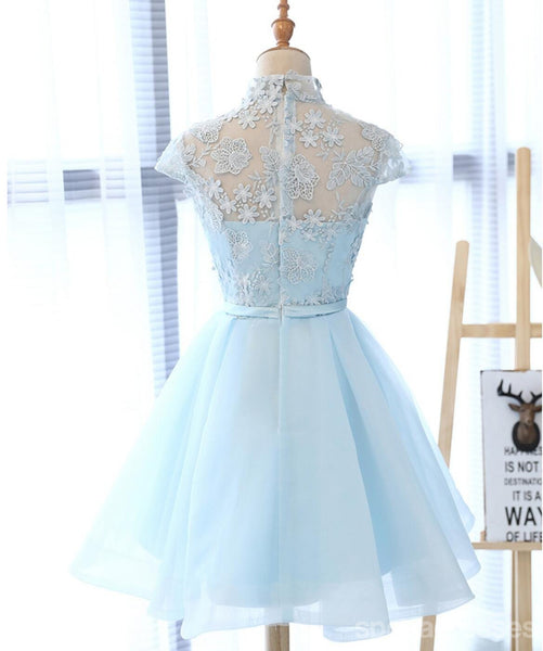 High Neckline Light Blue Cute Homecoming Prom Dresses, Affordable Sweet 16 Dresses, CM331