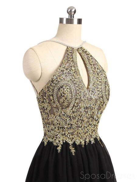 Gold Lace Beaded Black Chiffon Short Homecoming Prom Dresses, Affordable Short Party Prom Sweet 16 Dresses, Perfect Homecoming Cocktail Dresses, CM369