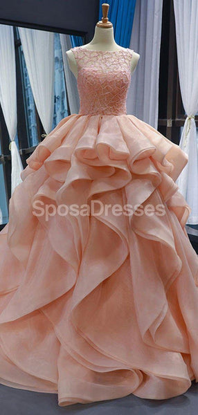 Peach Lace Beaded Ruffle Ball Gown Evening Prom Dresses, Evening Party Prom Dresses, 12253