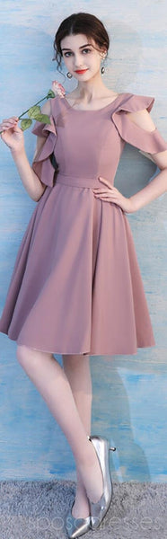 Dusty Pink Short Mismatched Simple Cheap Bridesmaid Dresses Online, WG510