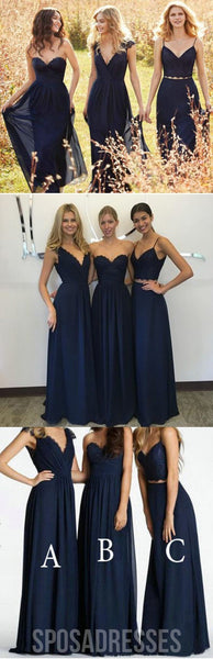 Elegant Lace Chiffon Navy Blue Floor-Length Inexpensive Bridesmaid Dresses, WG70