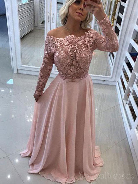 Off Shoulder Backless Long Sleeve Blush Pink Evening Prom Dresses, 17401