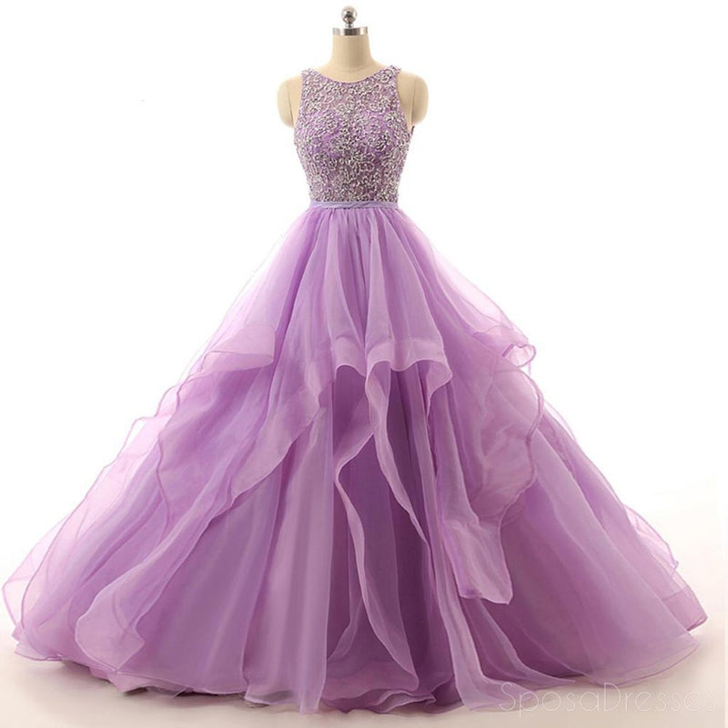 Lilac Organza Illusion A-line Cheap Evening Prom Dresses, Sweet 16 Dresses, 17492
