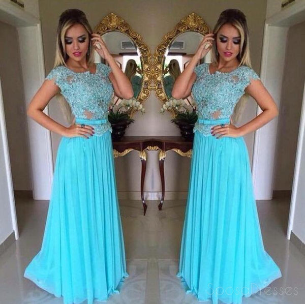 Turquoise Cap Sleeve  Evening Prom Dresses, Sexy See Through Party Prom Dress, Custom Long Prom Dress, Cheap Party Prom Dress, Formal Prom Dress, 17029