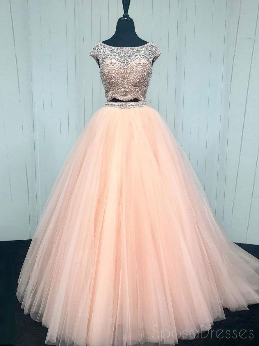 Sexy Two Pieces Cap Sleeve Blush Pink Long Evening Prom Dresses ...