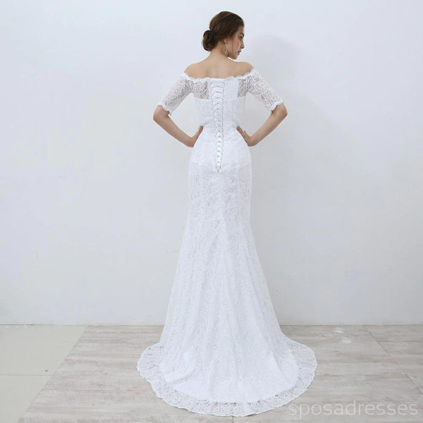 1/2 Long Sleeves Lace Mermaid Wedding Dresses Online, Cheap Bridal Dresses, WD508