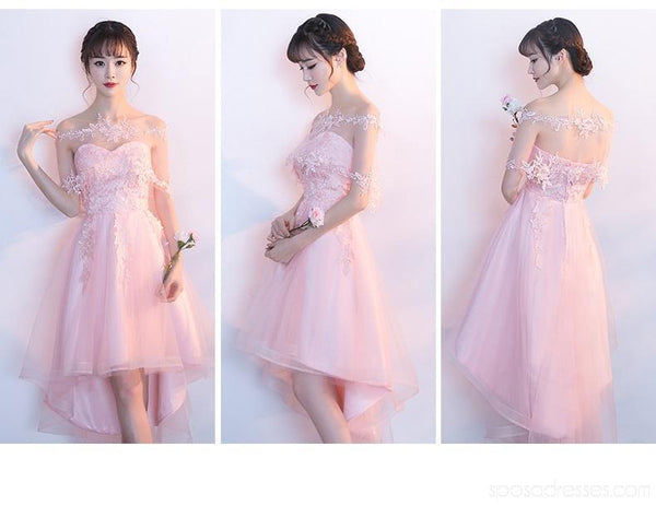 Lace High Low Sweetheart Pink Homecoming Dresses Online, Cheap Short Prom Dresses, CM792