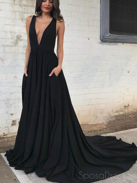 Simple Black Chiffon Backless Deep V Neck A line Long Custom Evening Prom Dresses, 17404