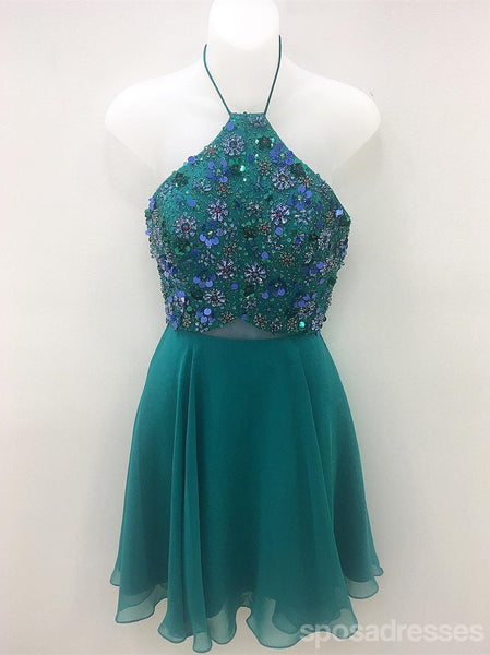 Verde Chiffon frisado barato Homecoming Vestidos curtos on-line, CM599