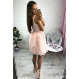 Short Cheap Simple V Neck Blush Pink Lace Homecoming Dresses 2018, CM518