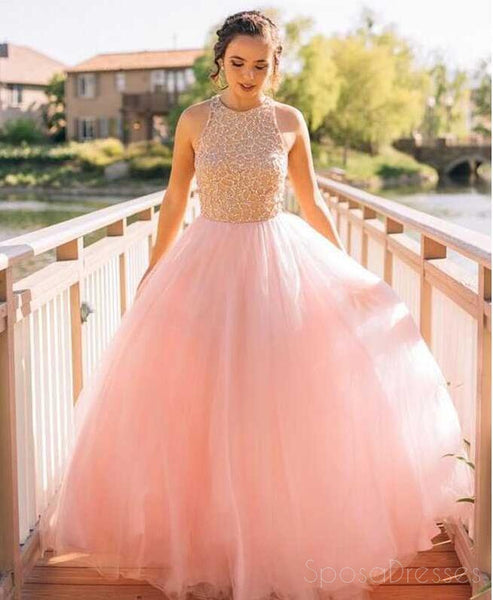 Blush Pink Tulle A line Evening Prom Dresses, Beaded Long Party Prom Dress, Custom Long Prom Dress, Cheap Party Prom Dress, Formal Prom Dress, 17030