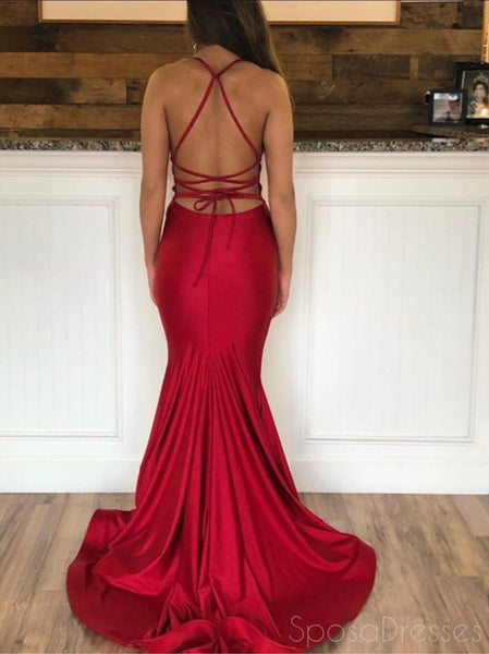 Simple Sexy Mermaid Dark Red Cheap Long Evening Prom Dresses, Evening Party Prom Dresses, 12191