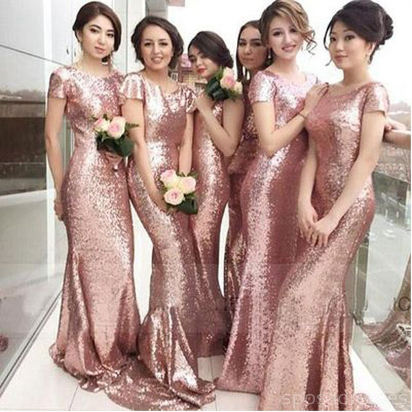 Sequin Short Sleeve Sexy Mermaid Rose Gold Long Bridesmaid Dresses, WG78