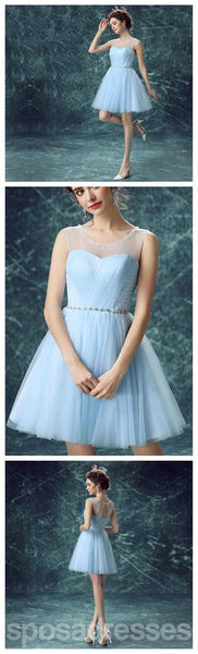 Light Blue Illusion Tulle Cute homecoming prom dresses, CM0017