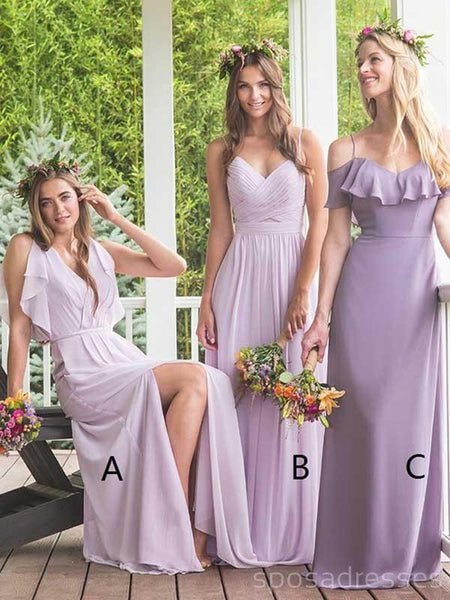 Lilac Chiffon Mismatched Cheap Long Bridesmaid Dresses Online, WG296